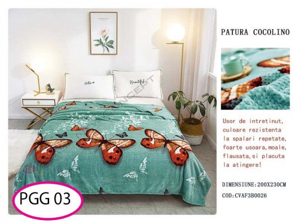 Patura Pufoasa Cocolino Grofata pentru pat dublu PGG 03